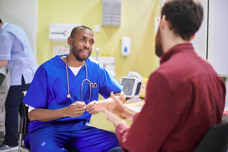 emergency department nurse and patient